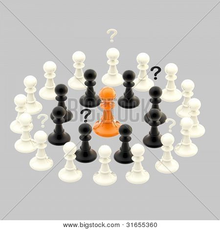 Interracial issues: chess pawns isolated on grey