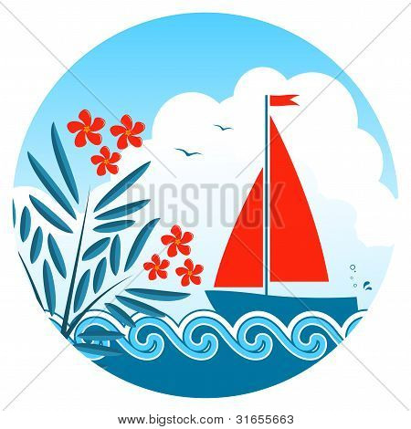 Oleander And Sailboat