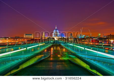 A view of St Paul's Cathedral over Millenium Bridge by Night with Vibrant London Night Sky