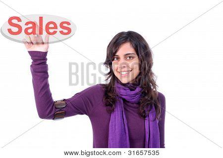Young Woman Pressing Key