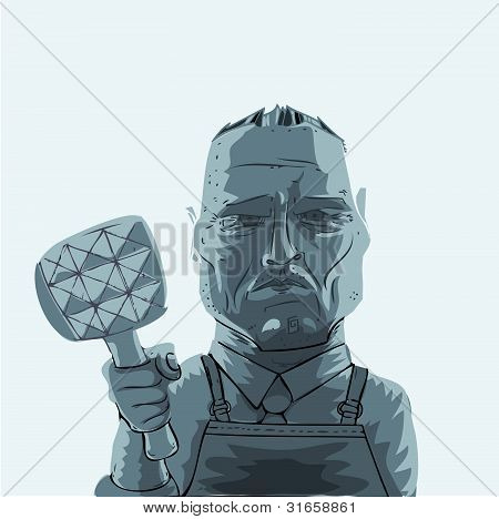 Butcher holding hammer in his hand