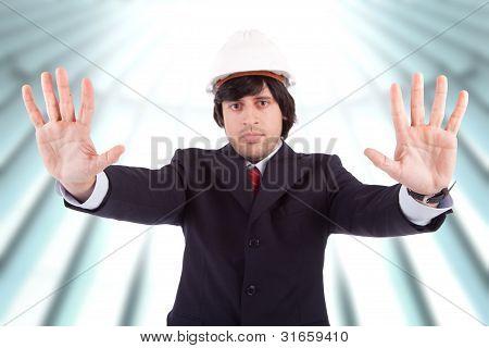 Business Man making Stop-Schild