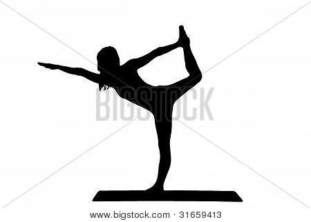 silhueta de uma belas moças praticando ioga