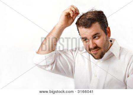 Young Man Pulling Grey Hair