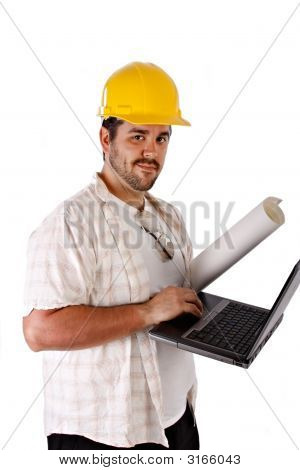 Contractor Holding Laptop