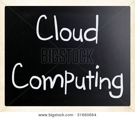 """cloud Computing"" Handwritten With White Chalk On A Blackboard"
