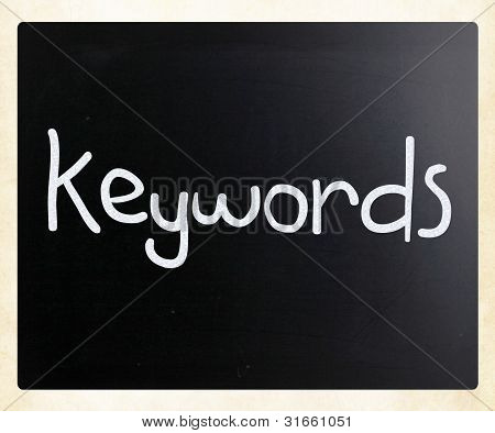 "The Word ""keywords"" Handwritten With White Chalk On A Blackboard"