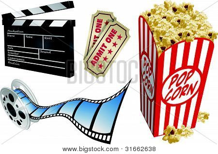 Movie themed design elements and icons.