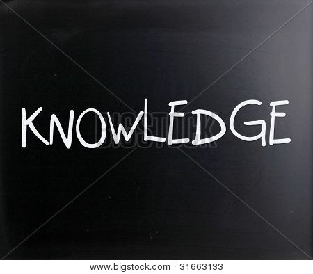 """knowledge"" Handwritten With White Chalk On A Blackboard"