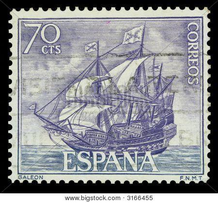 Spanish Galleon Postage Stamp
