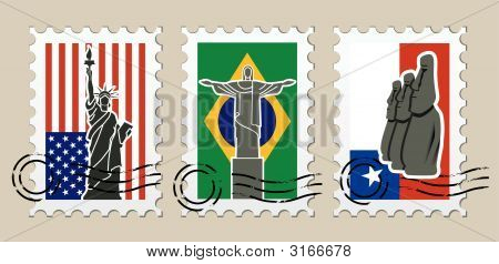 Three Postmarks With Sights Of America
