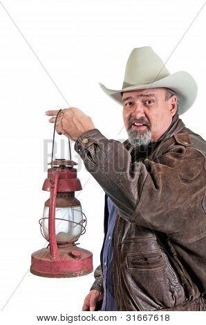 Smiling Cowboy With Lantern