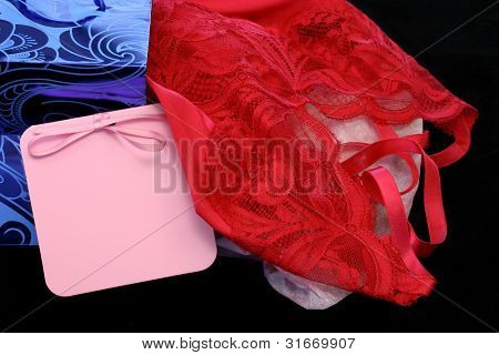 Red Lingerie With Gift Bag And Blank Gift Card