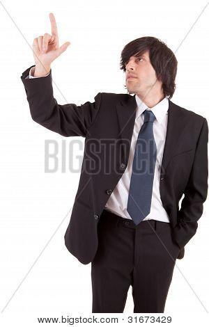 Young Businessman Pressing Key