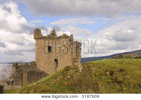 Castle Urquhart At Loch Ness In Scotland