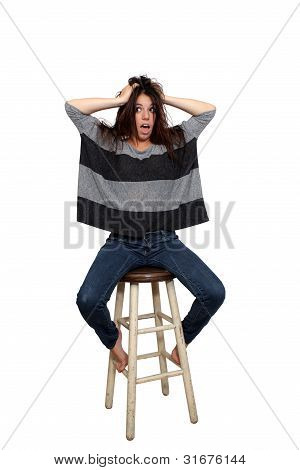 Casual Brunette On A Barstool