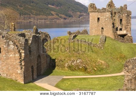 Castle At Loch Ness In Scotland