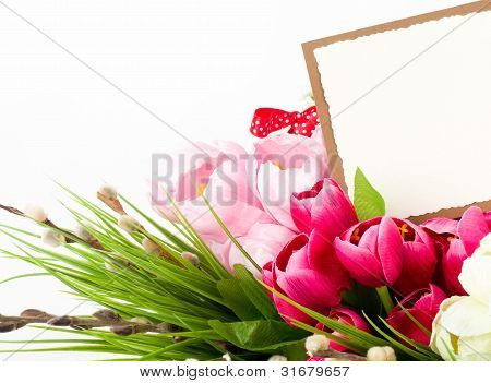 Beautiful spring flowers on a white background with a banner add