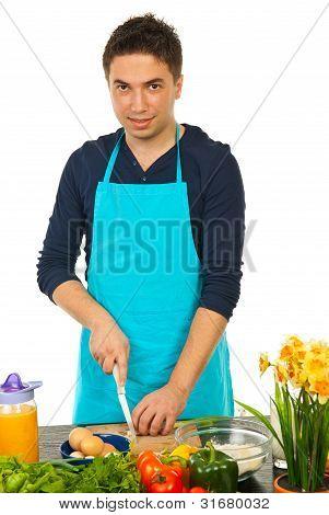 Cheerful Chef Cutting Green Onion