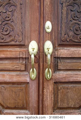Door Handles With An Old Double Door