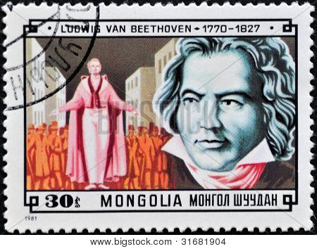 Beethoven on a mongolian stamp