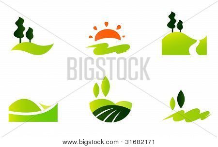 Rolling Hills Icons Isolated On White