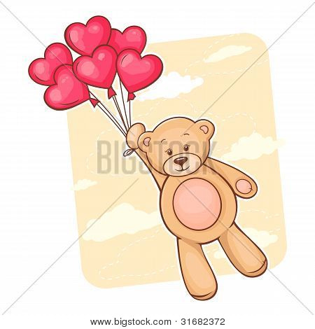 Teddy bear with red heart balloons