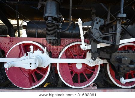 Old Steam Locomotive Wheel And Rods