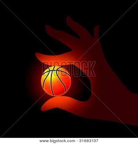 Vector Basketball in Hand Illustration