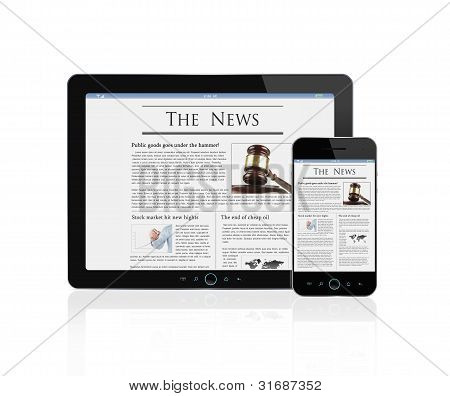 News At Digital Tablet And Smart Phone