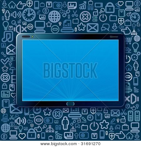 Touchscreen Tablet Computer with Cloud of Program and Web Icons. Vector Elements Separated
