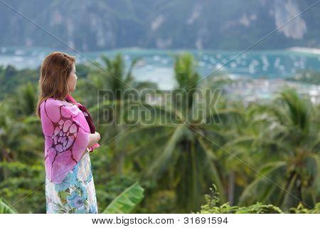 thai woman watching ko phi phi island landscape, thailand