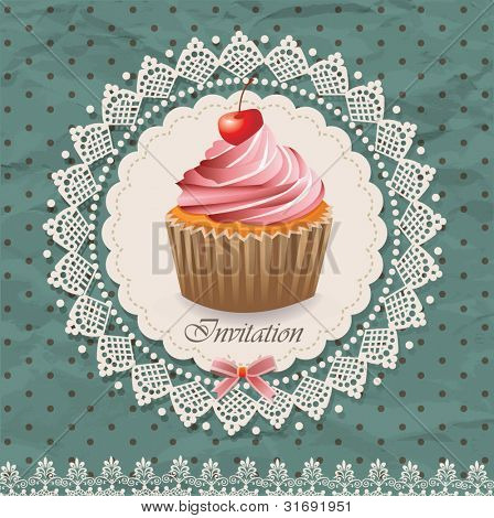 Vintage card with cupcake 011