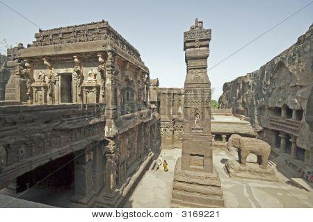 Courtyard Of Hindu Rock Temple