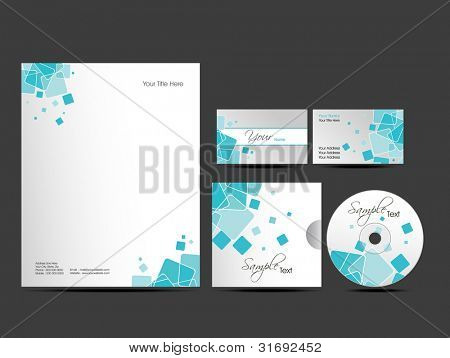 Professional  Corporate Identity kit or business kit with artistic, abstract design in blue color for your business includes CD Cover, Business Card and Letter Head Designs in  EPS 10 format.