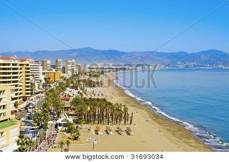 TORREMOLINOS, SPAIN - MARCH 13: Bajondillo Beach on March 13, 2012 in Torremolinos, Spain. This popular beach is about 1,100 meters long and 40 meters average width