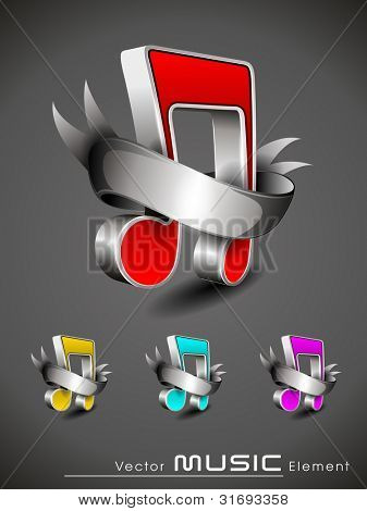 Vector illustration of 3D musical note banner with ribbon in red. yellow, sky blue and magenta colors. also can be use as tag, sticker, label, button or element.