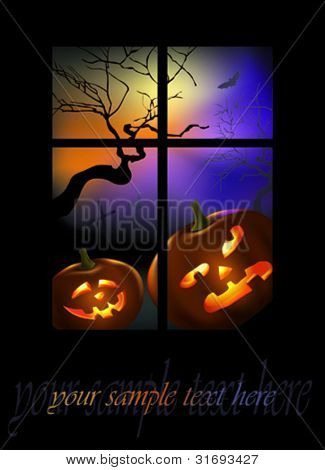Pumpkins peeping in window. Vector illustration.