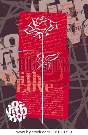 Background in pop-art style with sketch of rose and scripts. Vector illustration.