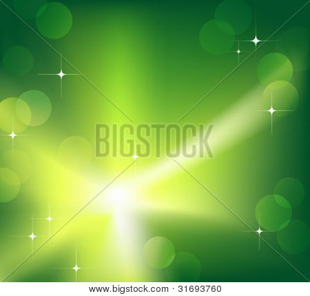 Bright sparkling flash on green background. Vector illustration. (Rgb-model, no transparency)