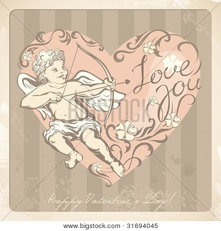 Vintage Valentineâ??s card with cupid. Vector illustration.