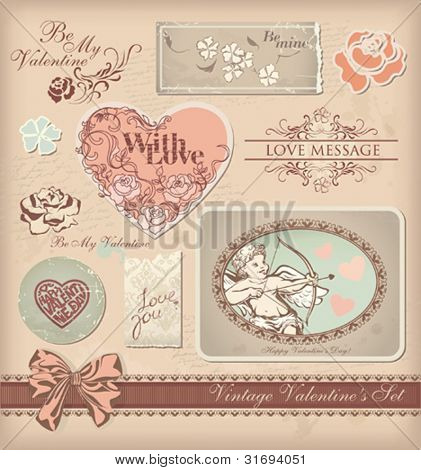 Vintage Valentine's design set. Vector illustration.