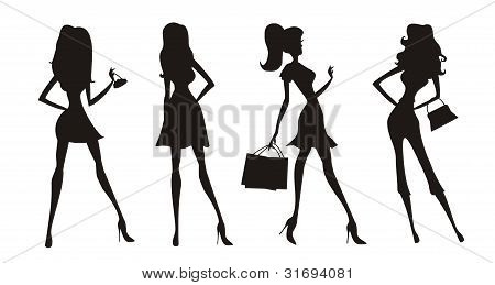 Vector fashion shopping girls silhouettes