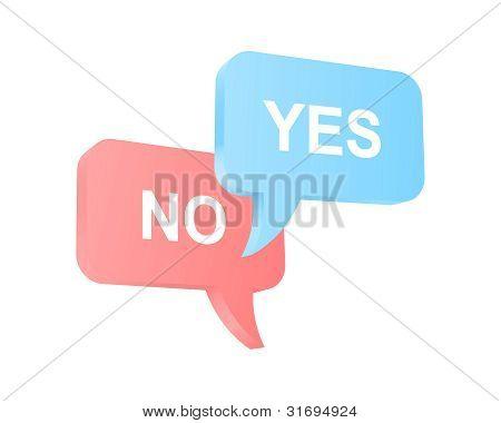 Discurso globos con dos opiniones opuestas