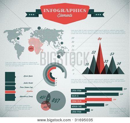 rojo y verde agua Vector retro / vintage conjunto de elementos de infografía para sus documentos e informes