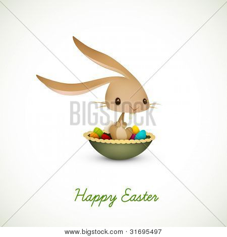 Easter Bunny Sitting in Bowl full of Colored Eggs  EPS 10 Vector Graphic   Layers Organized and Named Accordingly