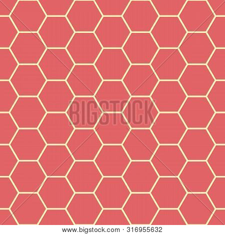 poster of Vibrant Coral Red And Yellow Honeycomb Design. Seamless Vector Pattern. Great For Wellbeing, Spa, He