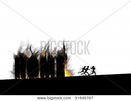 People running away from a burning house