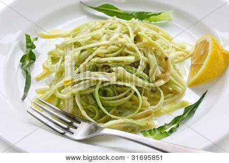 puntarelle alla romana, asparagus chicory salad with anchovy dressing, italian food