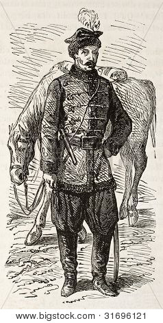 Polish hussar old engraved portrait. Created by Gaildrau, published on L'Illustration, Journal Universel, Paris, 1863